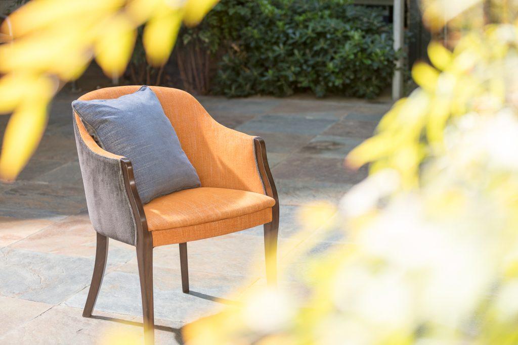 Symphony Burnt Orange with Wedgewood cushion